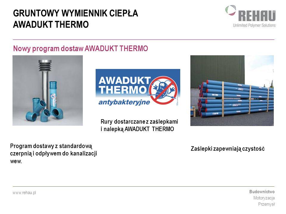 GRUNTOWY WYMIENNIK CIEPŁA AWADUKT THERMO Budownictwo Motoryzacja Przemysł www.rehau.pl Rury dostarczane z zaślepkami i nalepką AWADUKT THERMO Zaślepki