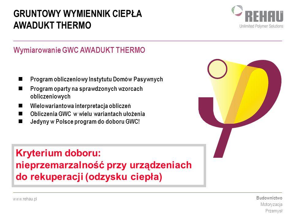 GRUNTOWY WYMIENNIK CIEPŁA AWADUKT THERMO Budownictwo Motoryzacja Przemysł www.rehau.pl Program obliczeniowy Instytutu Domów Pasywnych Program oparty n