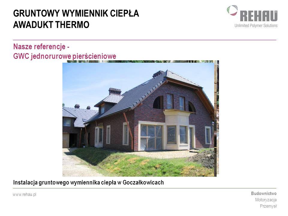 GRUNTOWY WYMIENNIK CIEPŁA AWADUKT THERMO Budownictwo Motoryzacja Przemysł www.rehau.pl Nasze referencje - GWC jednorurowe pierścieniowe Instalacja gru