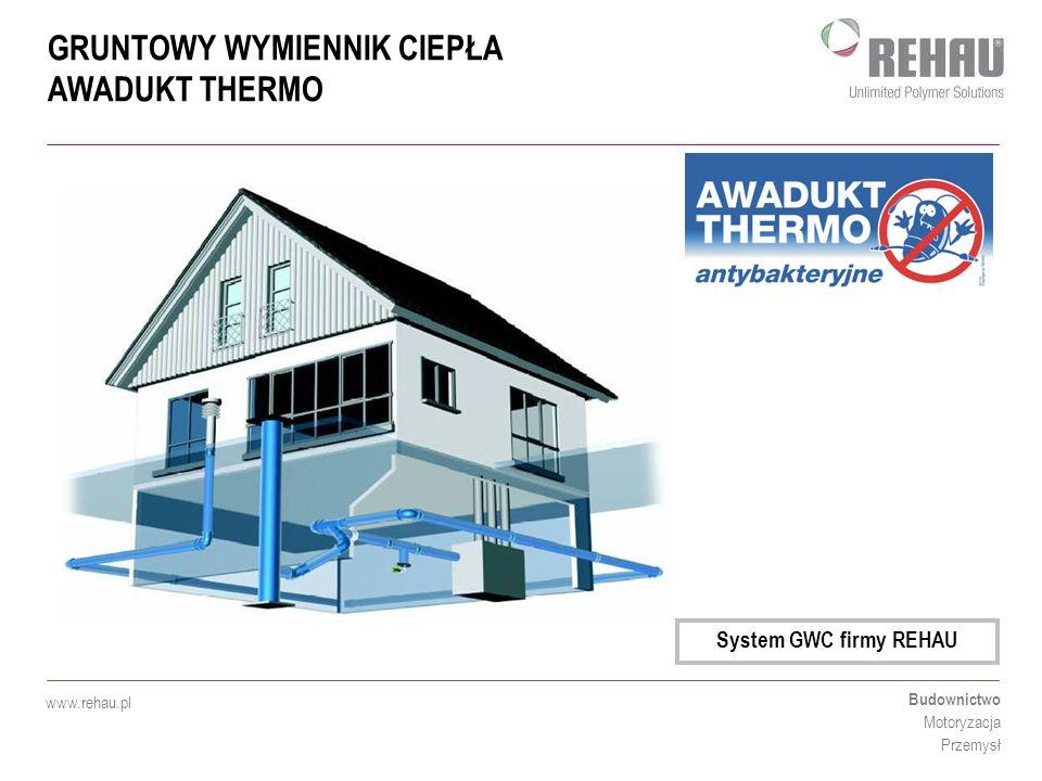 """GRUNTOWY WYMIENNIK CIEPŁA AWADUKT THERMO Budownictwo Motoryzacja Przemysł www.rehau.pl Ocieplenie zasysanego zimnego powietrza poprzez """"ciepło ziemi (ponad 0°C w przypadku mrozu) Zastosowanie GWC pozwala na wyeliminowanie nadmiernej wilgoci przy wtórnym odzysku energii Energooszczędność ogrzewania domu w połączeniu z wtórnym jej wykorzystaniem (Rekuperacja) Kontrolowana wentylacja z gruntowym wymiennikiem ciepła Zima"""