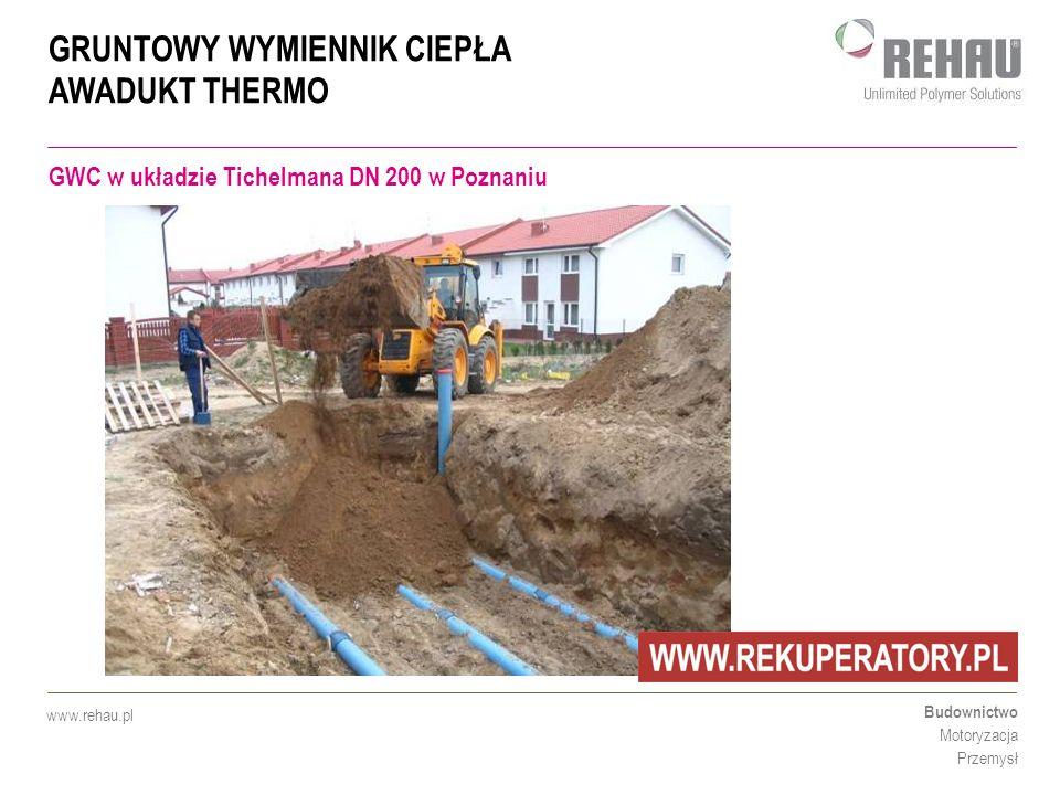 GRUNTOWY WYMIENNIK CIEPŁA AWADUKT THERMO Budownictwo Motoryzacja Przemysł www.rehau.pl GWC w układzie Tichelmana DN 200 w Poznaniu