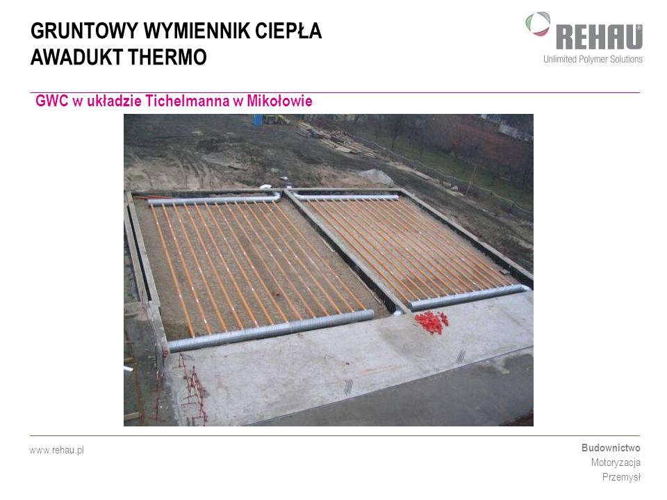 GRUNTOWY WYMIENNIK CIEPŁA AWADUKT THERMO Budownictwo Motoryzacja Przemysł www.rehau.pl GWC w układzie Tichelmanna w Mikołowie