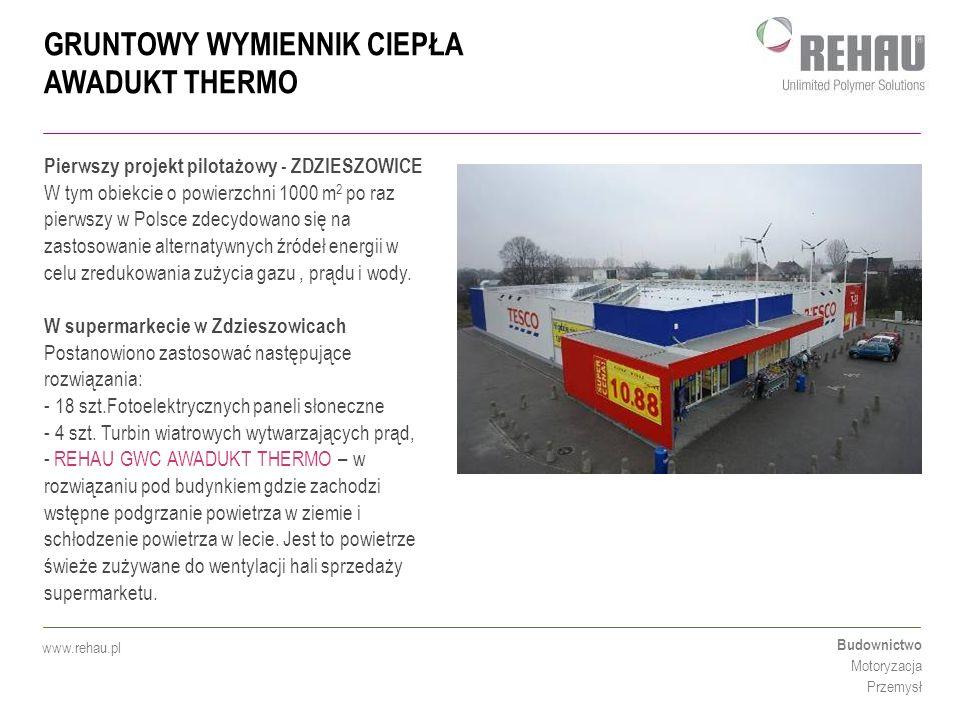 GRUNTOWY WYMIENNIK CIEPŁA AWADUKT THERMO Budownictwo Motoryzacja Przemysł www.rehau.pl SCHEMAT INSTALACJI GWC AWADUKT THERMO W SUPERMARKECIE TESCO ZDZIESZOWICE AWADUKT THERMO DN 200 20 szt.