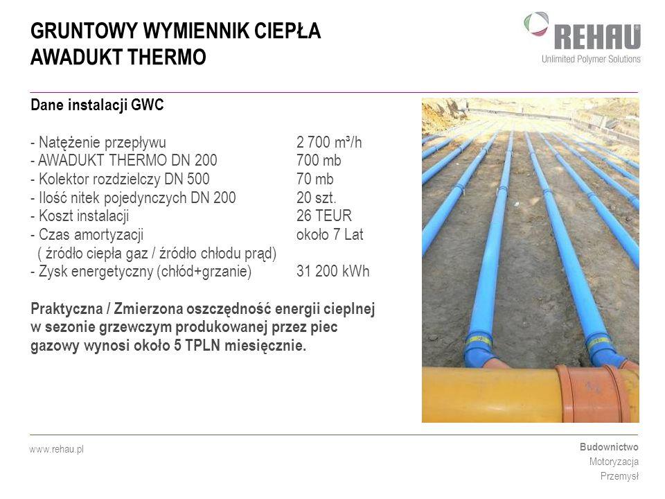 GRUNTOWY WYMIENNIK CIEPŁA AWADUKT THERMO Budownictwo Motoryzacja Przemysł www.rehau.pl Dane instalacji GWC - Natężenie przepływu2 700 m³/h - AWADUKT T
