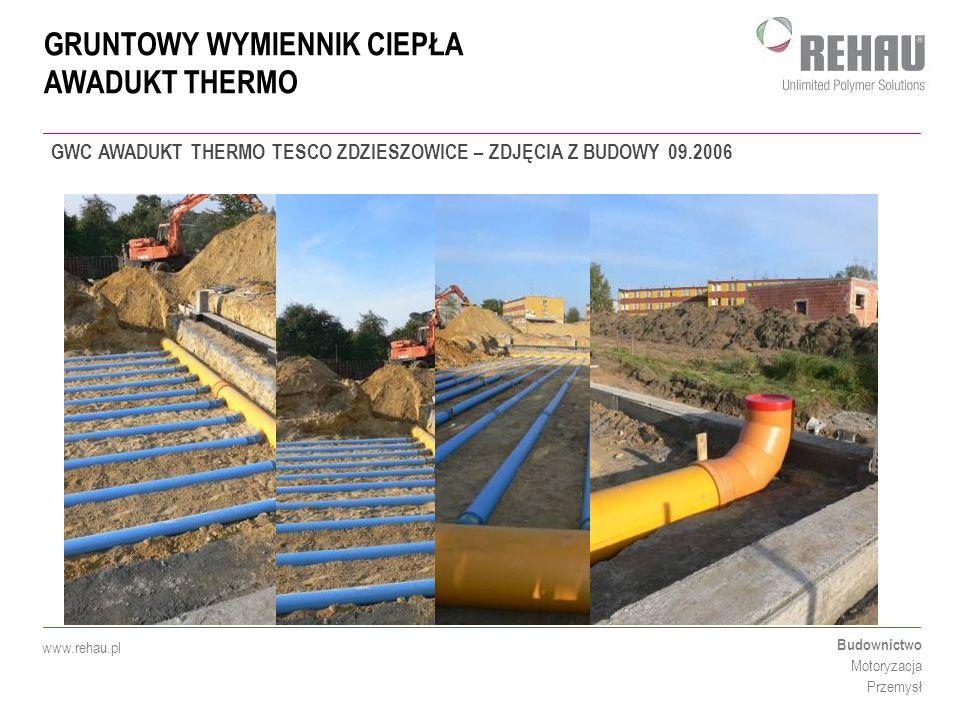 GRUNTOWY WYMIENNIK CIEPŁA AWADUKT THERMO Budownictwo Motoryzacja Przemysł www.rehau.pl PROJEKT BADAWCZY TESCO ZDZIESZOWICE: W projekcie uczestniczą : POLITECHNIKA POZNAŃSKA ZAKŁAD OGRZEWNICTWA, KLIMATYZACJI I OCHRONY POIWETRZA TESCO - DZIAŁ INŻYNIERSKI REHAU DZIAŁ TECHNICZNY SIECI ZEWNĘTRZNE Projekt przewiduje opomiarowanie wymiennika w cyklu rocznym w celu sprawdzenia jego rzeczywistej wydajności i dopracowania możliwości lepszego wykorzystania instalacji w przyszłości.