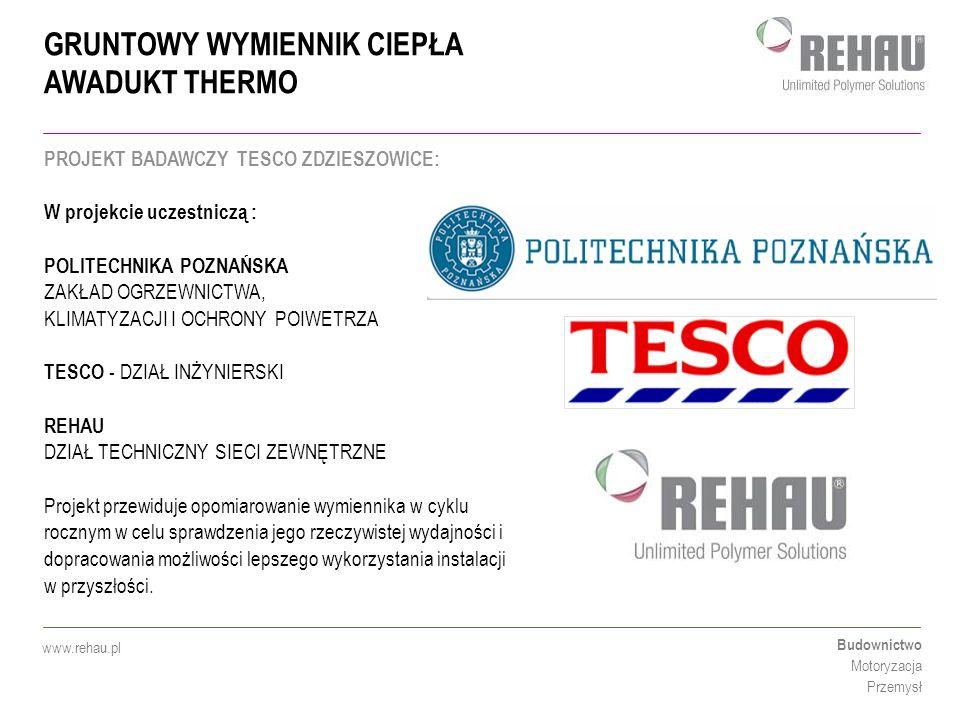 GRUNTOWY WYMIENNIK CIEPŁA AWADUKT THERMO Budownictwo Motoryzacja Przemysł www.rehau.pl PROJEKT BADAWCZY TESCO ZDZIESZOWICE: W projekcie uczestniczą :