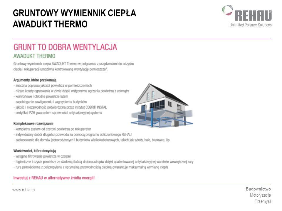 GRUNTOWY WYMIENNIK CIEPŁA AWADUKT THERMO Budownictwo Motoryzacja Przemysł www.rehau.pl