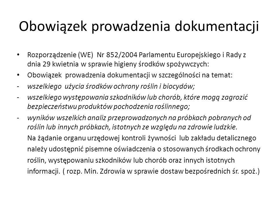 Obowiązek prowadzenia dokumentacji Rozporządzenie (WE) Nr 852/2004 Parlamentu Europejskiego i Rady z dnia 29 kwietnia w sprawie higieny środków spożyw