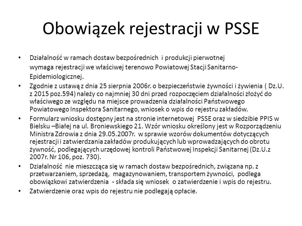 Obowiązek rejestracji w PSSE Działalność w ramach dostaw bezpośrednich i produkcji pierwotnej wymaga rejestracji we właściwej terenowo Powiatowej Stac