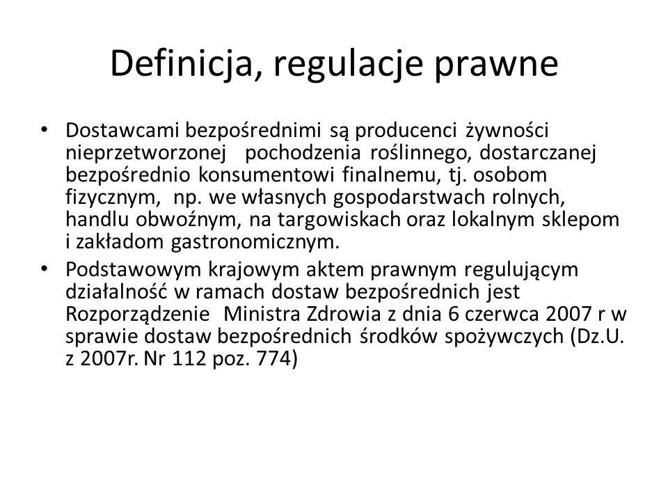 Definicja, regulacje prawne Dostawcami bezpośrednimi są producenci żywności nieprzetworzonej pochodzenia roślinnego, dostarczanej bezpośrednio konsume