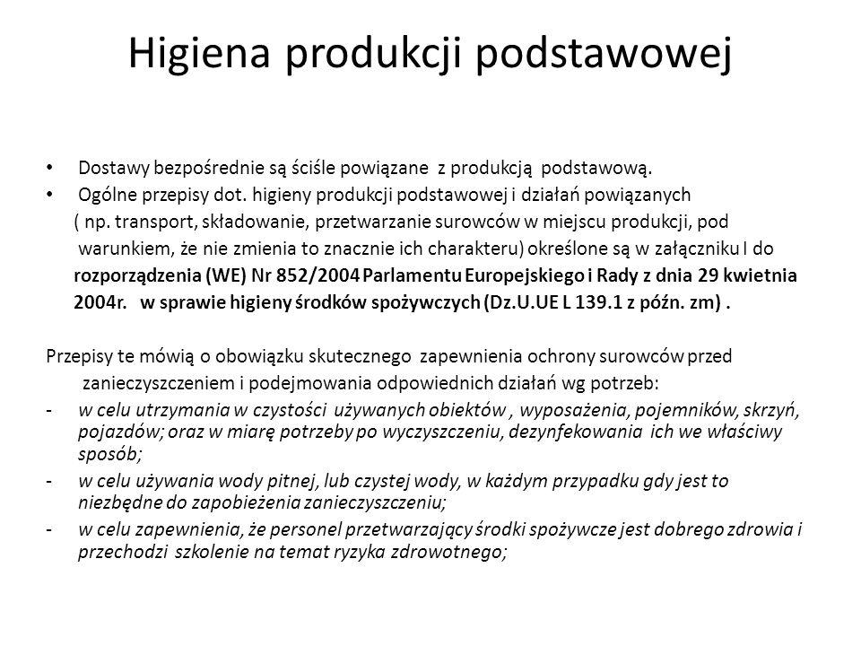 Higiena produkcji podstawowej Dostawy bezpośrednie są ściśle powiązane z produkcją podstawową. Ogólne przepisy dot. higieny produkcji podstawowej i dz
