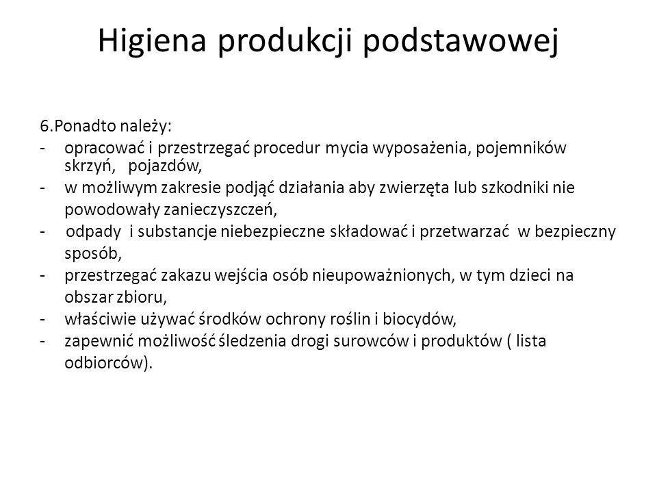 Obowiązek prowadzenia dokumentacji Rozporządzenie (WE) Nr 852/2004 Parlamentu Europejskiego i Rady z dnia 29 kwietnia w sprawie higieny środków spożywczych: Obowiązek prowadzenia dokumentacji w szczególności na temat: -wszelkiego użycia środków ochrony roślin i biocydów; -wszelkiego występowania szkodników lub chorób, które mogą zagrozić bezpieczeństwu produktów pochodzenia roślinnego; -wyników wszelkich analiz przeprowadzonych na próbkach pobranych od roślin lub innych próbkach, istotnych ze względu na zdrowie ludzkie.
