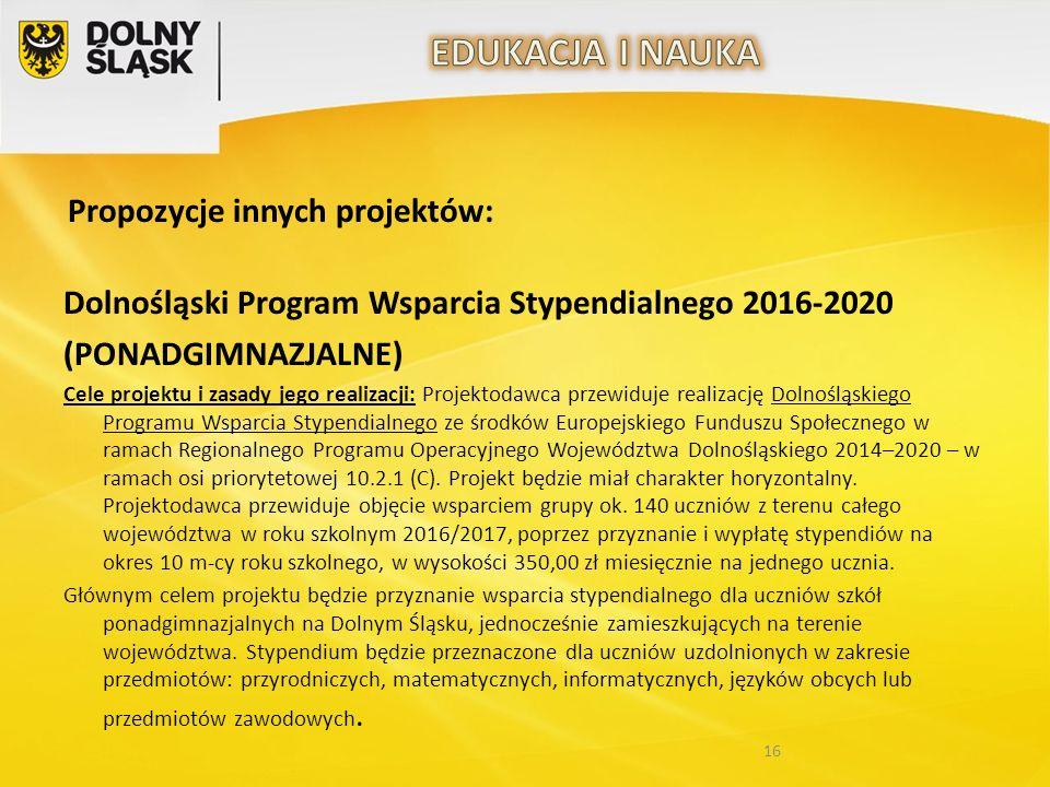 Propozycje innych projektów: Dolnośląski Program Wsparcia Stypendialnego 2016-2020 (PONADGIMNAZJALNE) Cele projektu i zasady jego realizacji: Projekto