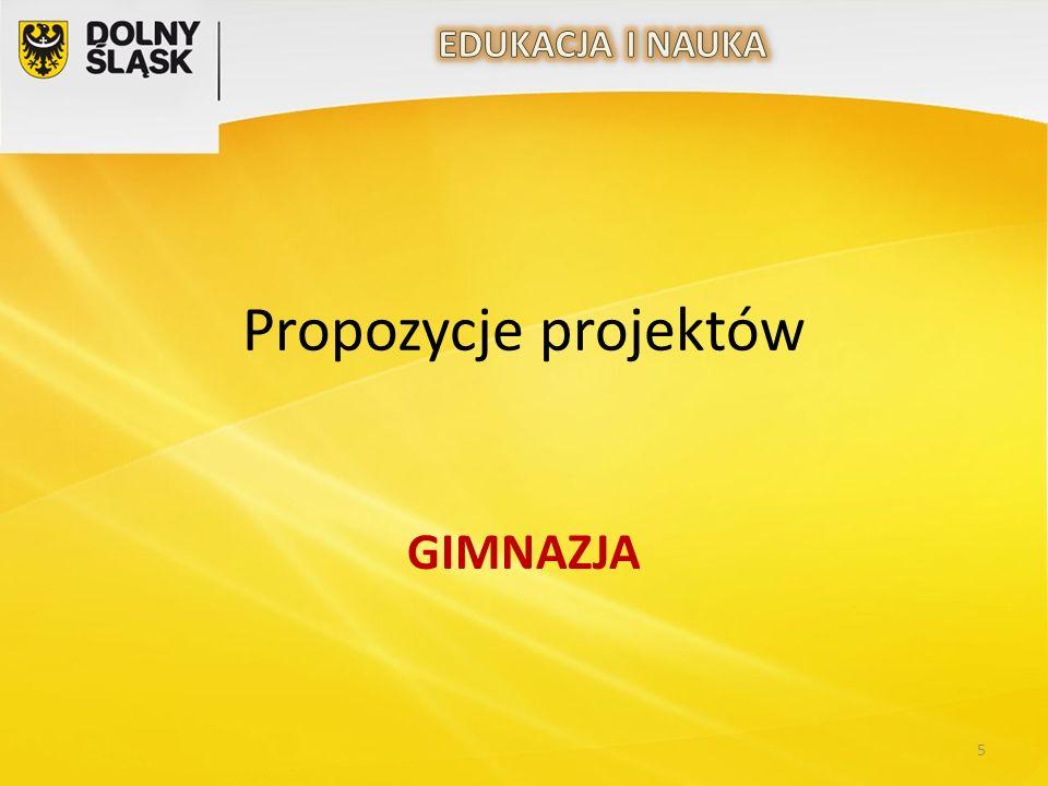 Propozycje projektów GIMNAZJA 5