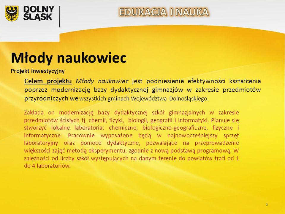 Celem projektu Młody naukowiec jest podniesienie efektywności kształcenia poprzez modernizację bazy dydaktycznej gimnazjów w zakresie przedmiotów przyrodniczych we wszystkich gminach Województwa Dolnośląskiego.