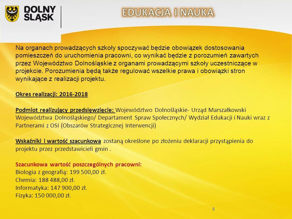 8 Na organach prowadzących szkoły spoczywać będzie obowiązek dostosowania pomieszczeń do uruchomienia pracowni, co wynikać będzie z porozumień zawartych przez Województwo Dolnośląskie z organami prowadzącymi szkoły uczestniczące w projekcie.