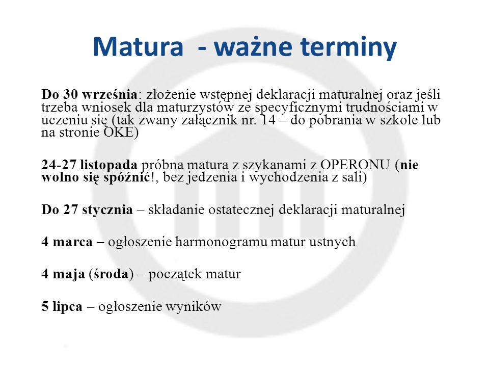 Matura - ważne terminy Do 30 września: złożenie wstępnej deklaracji maturalnej oraz jeśli trzeba wniosek dla maturzystów ze specyficznymi trudnościami w uczeniu się (tak zwany załącznik nr.