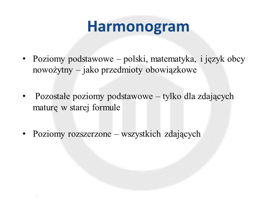 Harmonogram Poziomy podstawowe – polski, matematyka, i język obcy nowożytny – jako przedmioty obowiązkowe Pozostałe poziomy podstawowe – tylko dla zdających maturę w starej formule Poziomy rozszerzone – wszystkich zdających
