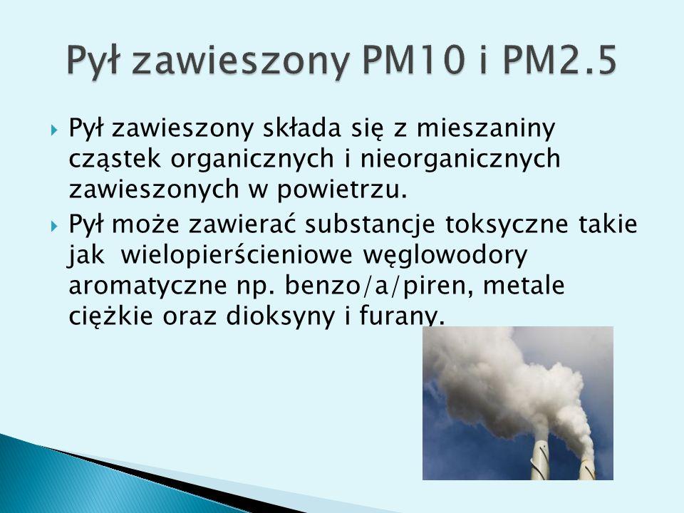  Pył zawieszony składa się z mieszaniny cząstek organicznych i nieorganicznych zawieszonych w powietrzu.  Pył może zawierać substancje toksyczne tak