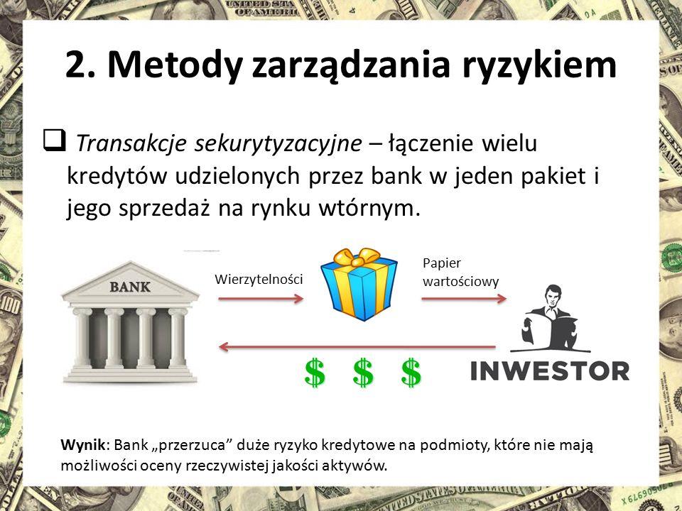 2. Metody zarządzania ryzykiem  Transakcje sekurytyzacyjne – łączenie wielu kredytów udzielonych przez bank w jeden pakiet i jego sprzedaż na rynku w