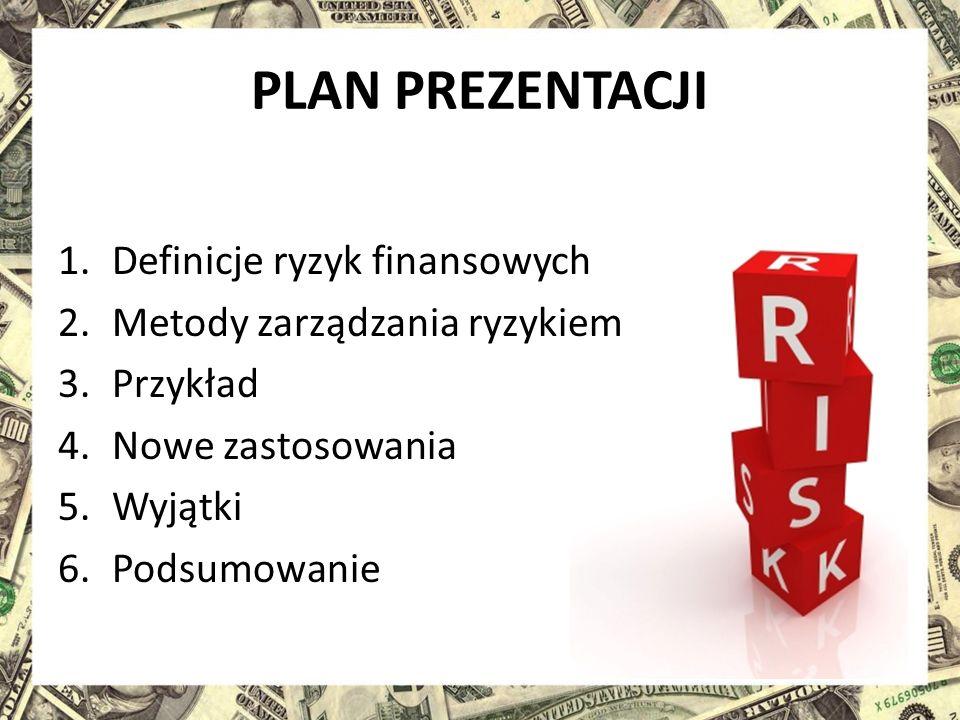 PLAN PREZENTACJI 1.Definicje ryzyk finansowych 2.Metody zarządzania ryzykiem 3.Przykład 4.Nowe zastosowania 5.Wyjątki 6.Podsumowanie