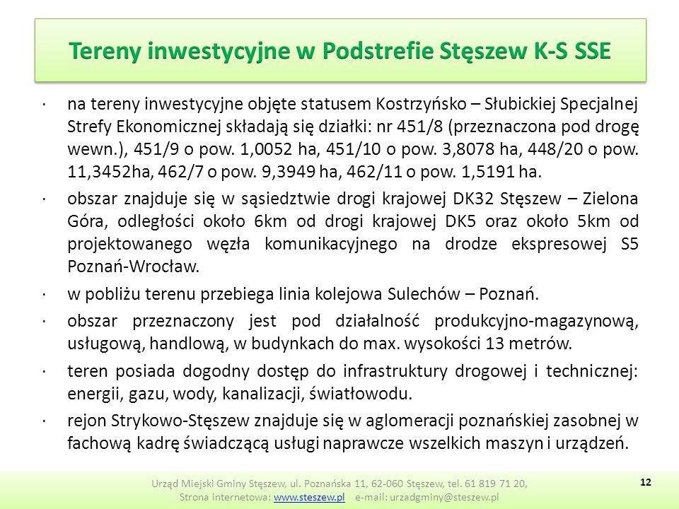 ∙na tereny inwestycyjne objęte statusem Kostrzyńsko – Słubickiej Specjalnej Strefy Ekonomicznej składają się działki: nr 451/8 (przeznaczona pod drogę wewn.), 451/9 o pow.