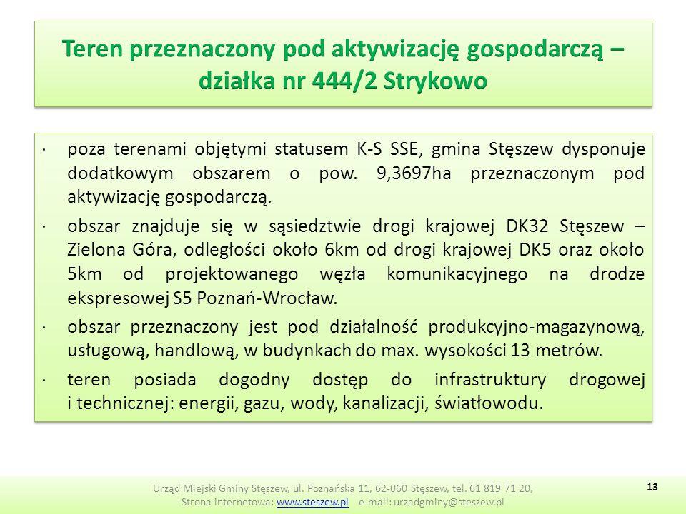 ∙poza terenami objętymi statusem K-S SSE, gmina Stęszew dysponuje dodatkowym obszarem o pow.