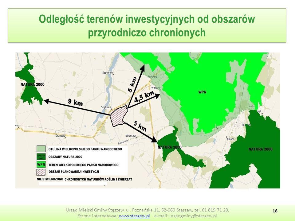 Odległość terenów inwestycyjnych od obszarów przyrodniczo chronionych Urząd Miejski Gminy Stęszew, ul.