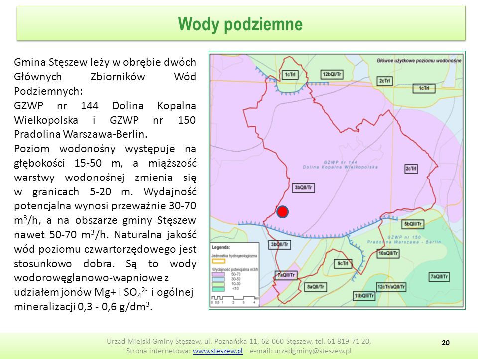 Wody podziemne Urząd Miejski Gminy Stęszew, ul.Poznańska 11, 62-060 Stęszew, tel.