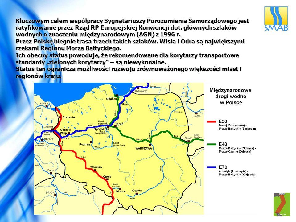 Kluczowym celem współpracy Sygnatariuszy Porozumienia Samorządowego jest ratyfikowanie przez Rząd RP Europejskiej Konwencji dot. głównych szlaków wodn