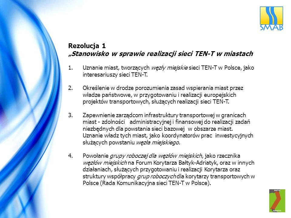 """Rezolucja 1 """"Stanowisko w sprawie realizacji sieci TEN-T w miastach 1.Uznanie miast, tworzących węzły miejskie sieci TEN-T w Polsce, jako interesariuszy sieci TEN-T."""