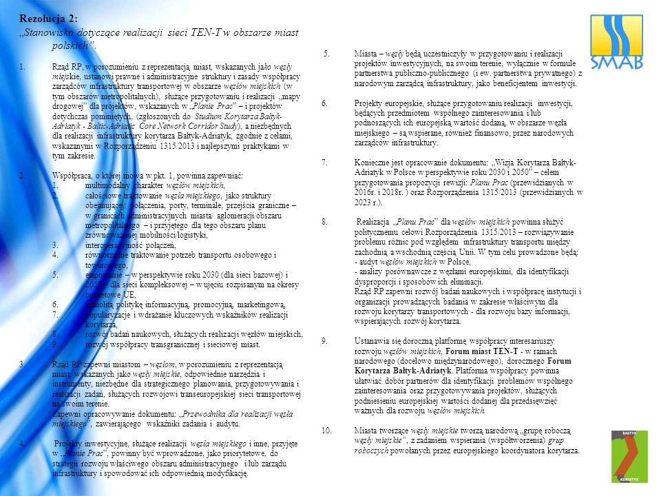"""Rezolucja 2: """"Stanowisko dotyczące realizacji sieci TEN-T w obszarze miast polskich"""". 1.Rząd RP, w porozumieniu z reprezentacją miast, wskazanych jako"""