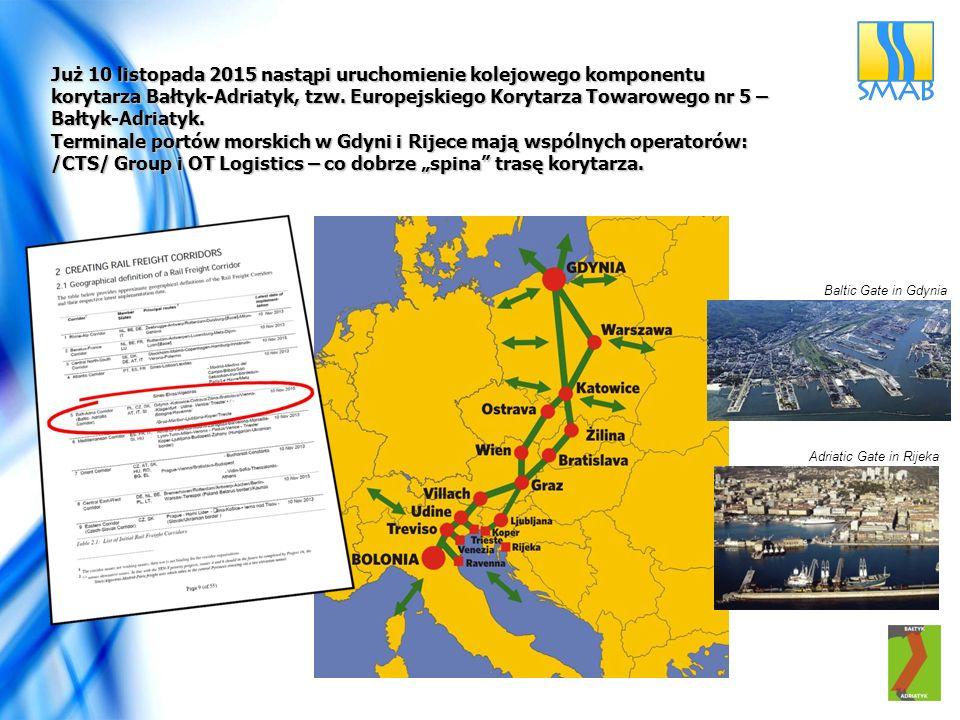 Baltic Gate in Gdynia Adriatic Gate in Rijeka Już 10 listopada 2015 nastąpi uruchomienie kolejowego komponentu korytarza Bałtyk-Adriatyk, tzw.