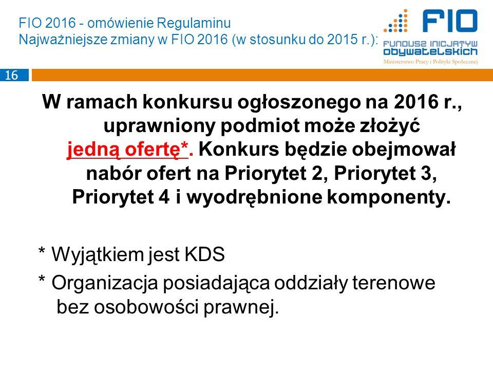 FIO 2016 - omówienie Regulaminu Najważniejsze zmiany w FIO 2016 (w stosunku do 2015 r.): W ramach konkursu ogłoszonego na 2016 r., uprawniony podmiot