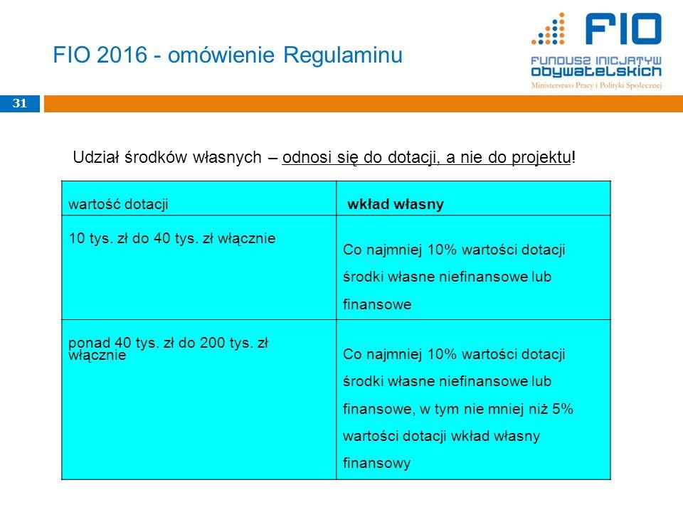 FIO 2016 - omówienie Regulaminu 31 wartość dotacji wkład własny 10 tys. zł do 40 tys. zł włącznie Co najmniej 10% wartości dotacji środki własne niefi