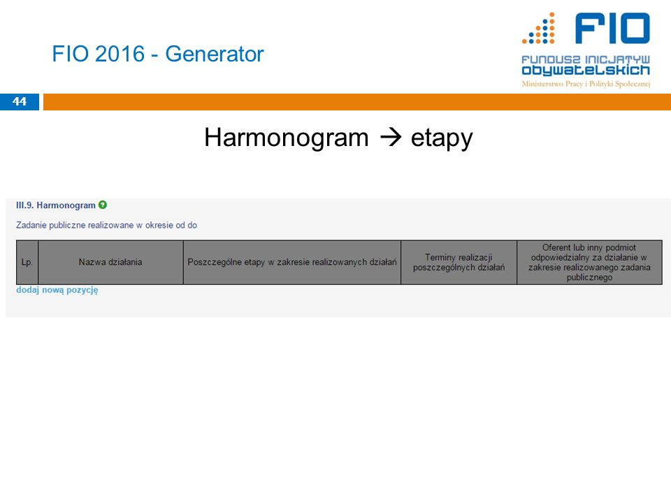 FIO 2016 - Generator Harmonogram  etapy 44