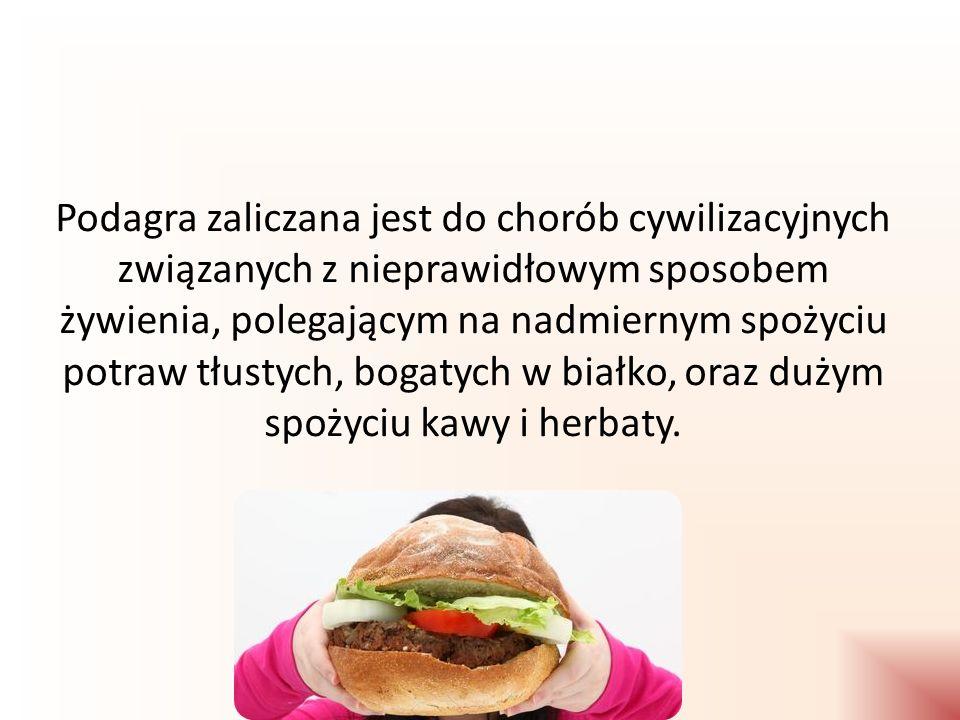 produkty, z których powstaje powyżej 100 mg kwasu moczowego produkty, z których powstaje 50-100 mg kwasu moczowego produkty, z których powstaje do 50 mg kwasu moczowego Ryby: dorsz, karp, łosoś, makrela, pstrąg, sandacz, sardynka, sola, szczupak, wędzone szproty, śledź Skorupiaki: krewetki Mięsa: cielęcina, wołowina (rostbef, karkówka), jagnięcina, wieprzowina (karkówka, szynka) Drób: kurczak pieczony Podroby: grasica, wątróbki, Dziczyzna: gęś, zając Mięso, wędliny, ryby: flądra, lin, wołowina (mostek), kiełbaski frankfuterki, parówki, kaszanka Suche nasiona strączkowe: Groch, fasola biała, soczewica Mięso i wędliny: metka, mortadella, salami, szynka gotowana Nabiał: Mleko, mleko zsiadłe, sery żółte, pleśniowe, ziarniste, twarogowe Orzechy i ziarna: Orzechy włoskie, laskowe, ziemne, ziarna sezamu, słonecznika [źródło: Jarosz M., Wojtasik A., Wierzejska R.