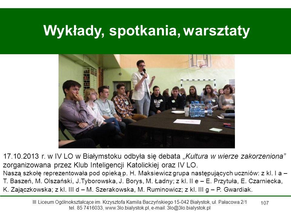 107 Wykłady, spotkania, warsztaty 17.10.2013 r.
