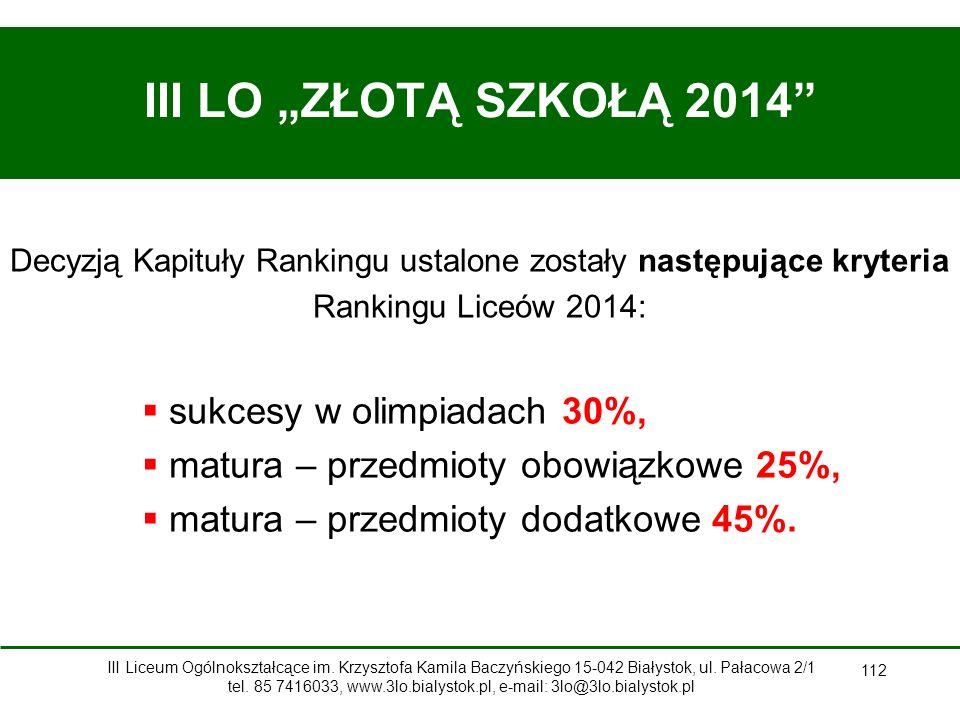 """112 III LO """"ZŁOTĄ SZKOŁĄ 2014  sukcesy w olimpiadach 30%,  matura – przedmioty obowiązkowe 25%,  matura – przedmioty dodatkowe 45%."""