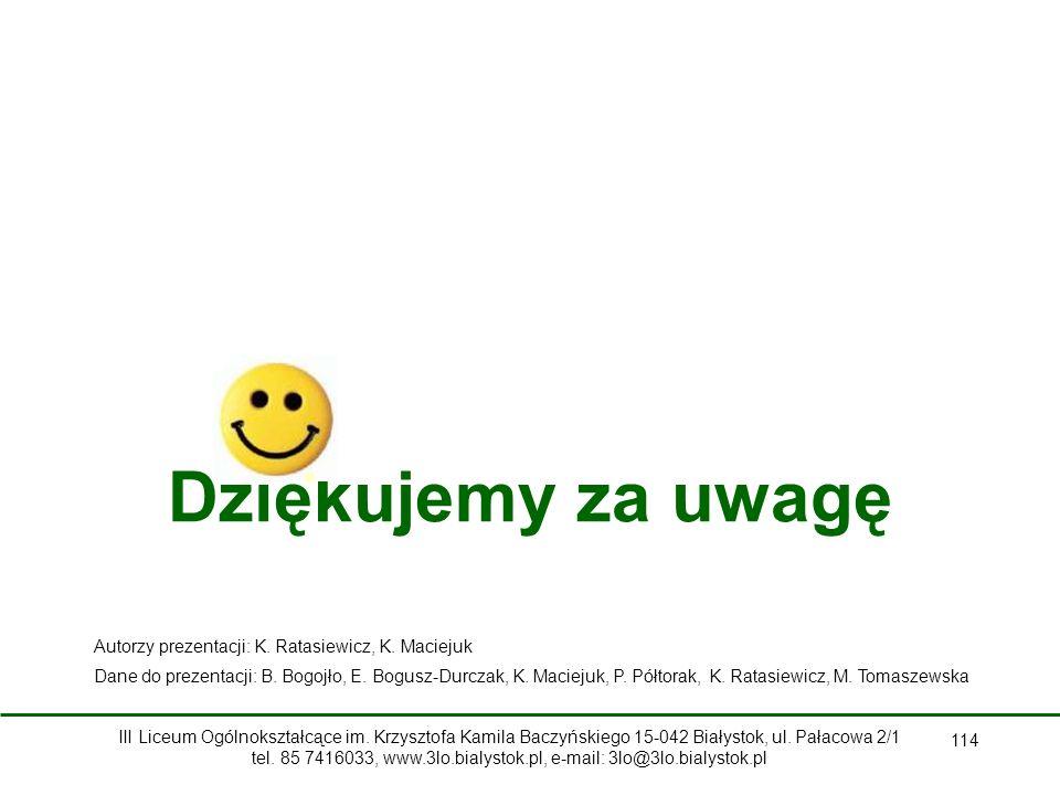 Dziękujemy za uwagę 114 Autorzy prezentacji: K.Ratasiewicz, K.