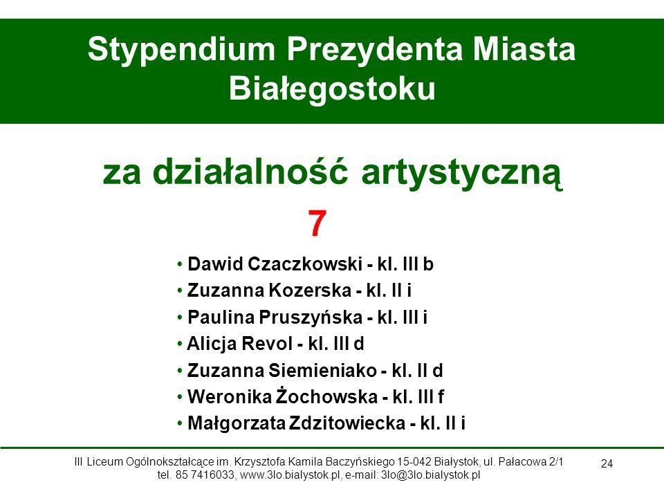 24 Stypendium Prezydenta Miasta Białegostoku za działalność artystyczną Dawid Czaczkowski - kl.