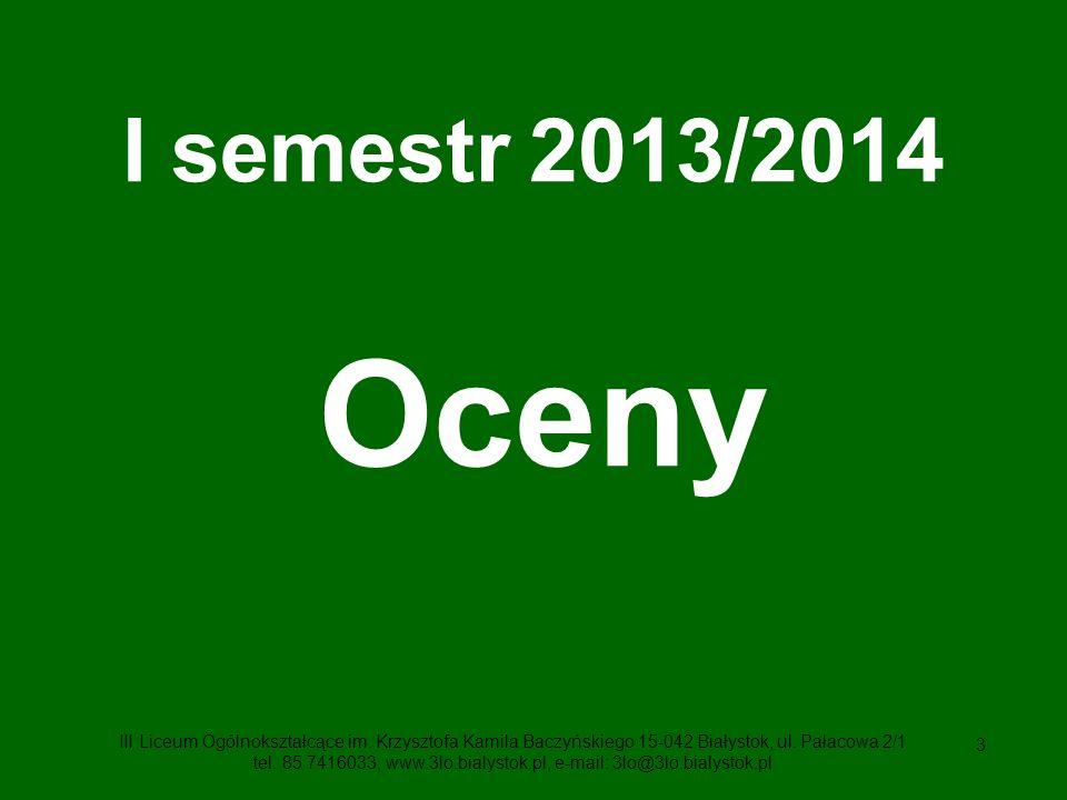 3 I semestr 2013/2014 Oceny III Liceum Ogólnokształcące im.