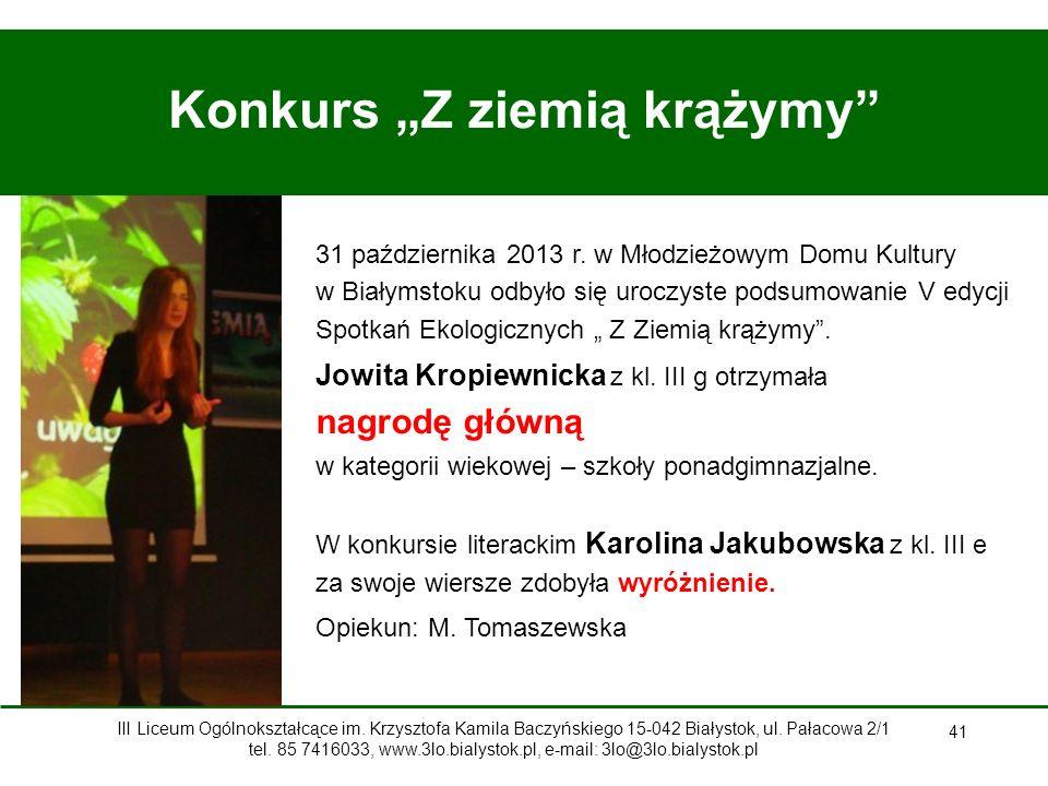 """41 Konkurs """"Z ziemią krążymy 31 października 2013 r."""