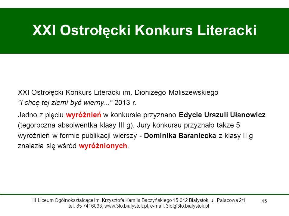 45 XXI Ostrołęcki Konkurs Literacki XXI Ostrołęcki Konkurs Literacki im.