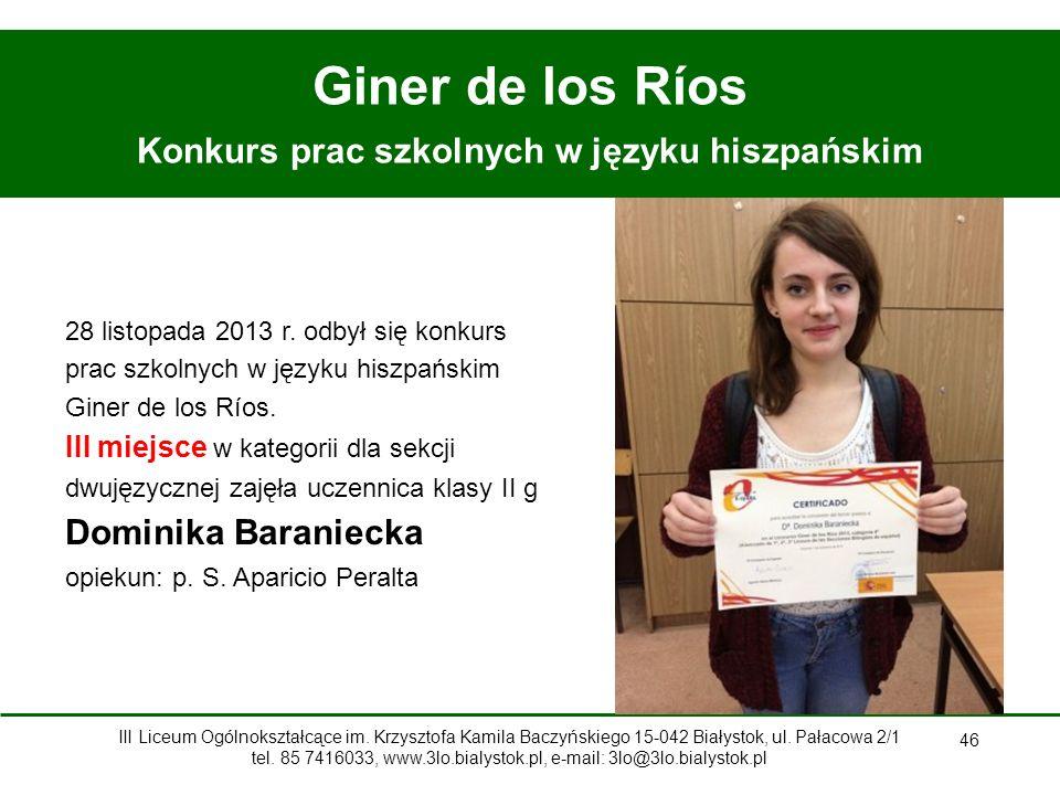 46 Giner de los Ríos Konkurs prac szkolnych w języku hiszpańskim 28 listopada 2013 r.