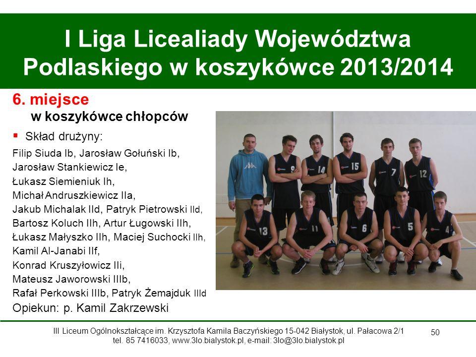 50 I Liga Licealiady Województwa Podlaskiego w koszykówce 2013/2014 6.