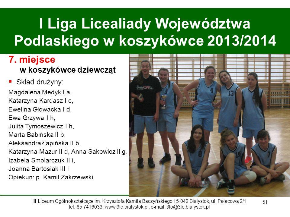 51 I Liga Licealiady Województwa Podlaskiego w koszykówce 2013/2014 7.