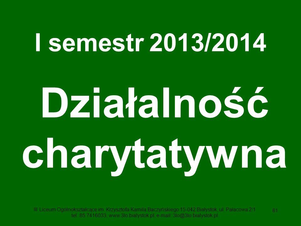 81 I semestr 2013/2014 Działalność charytatywna III Liceum Ogólnokształcące im.