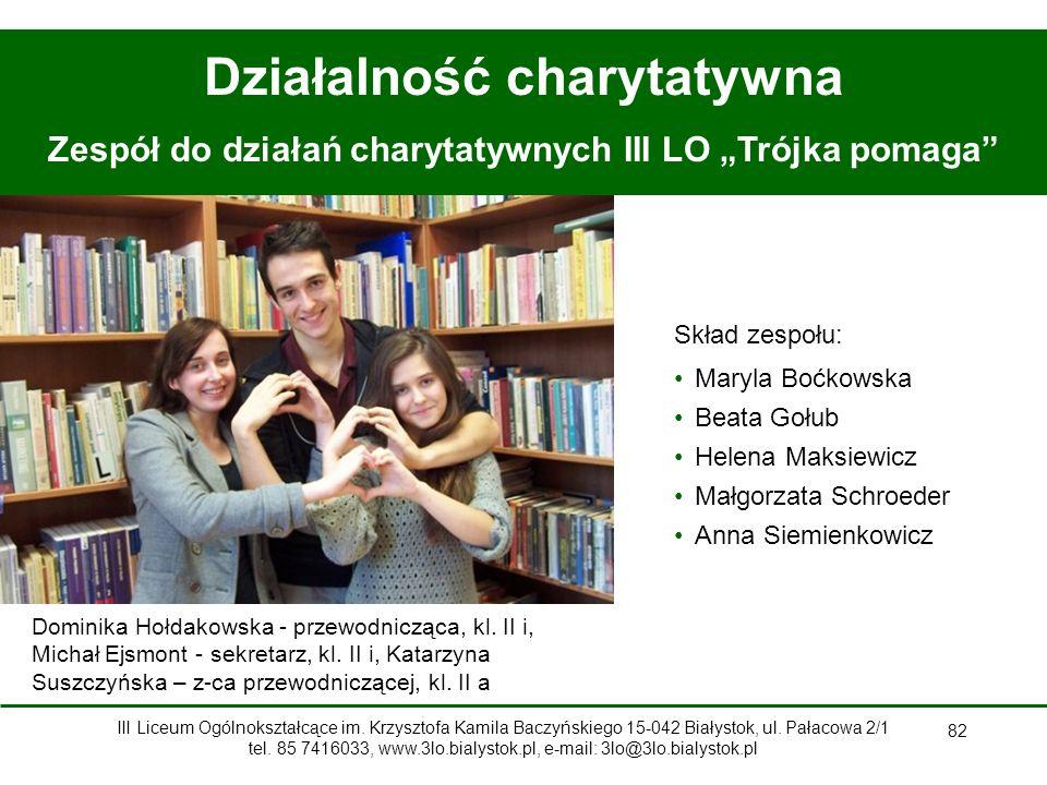 """82 Działalność charytatywna Zespół do działań charytatywnych III LO """"Trójka pomaga Dominika Hołdakowska - przewodnicząca, kl."""