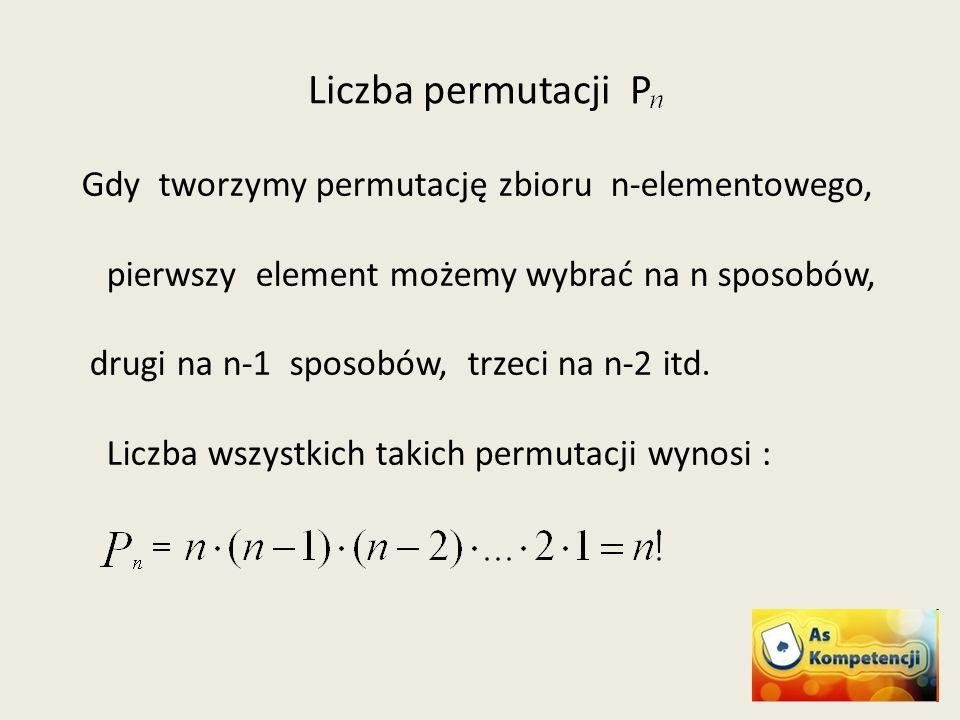 Liczba permutacji P Gdy tworzymy permutację zbioru n-elementowego, pierwszy element możemy wybrać na n sposobów, drugi na n-1 sposobów, trzeci na n-2 itd.